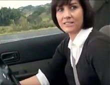 Beautiful hairy mature masturbation in the car