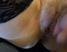 wife spreading hairy cunt for more cum