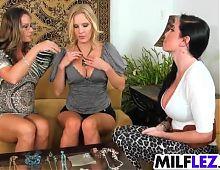 Stunning hot lesbian MILF threesome