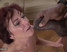 Two matures fuck in interracial group sex with black guys
