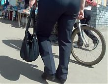 Big butt old woman in pants