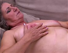 Hairy grandma fuck boy and eats his cum